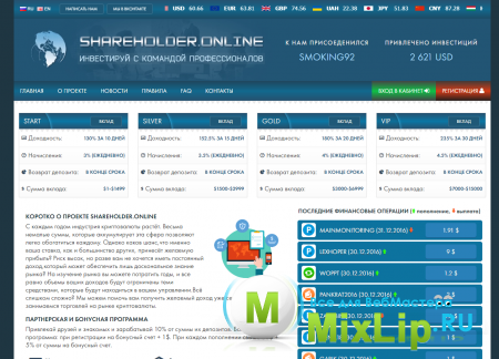 Скрипт HYIP проекта ShareHolder